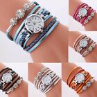 Fashion Women Leather Wrap Watch Crystal Analog Bracelet Quartz Wristwatch Gifts image