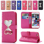Heart Bling Glitter Lether Wallet Case Stand Cover for iPhone 5 SE 6 6S 7 8 Plus