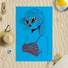 "58""x39"" Lady In Bikini Microfibre Beach Towel Sun Bathing Pool Swim 4 Colours"