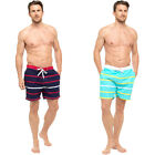 MENS BOYS STRIPED SUMMER BEACH SURF BOARD CARGO SWIM SHORTS RED NAVY BLUE M-2XL