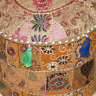 18'' Indian Patchwork Round Pouf Ottoman Cover Foot Stool Moroccan Pouffe Cover