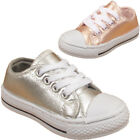 New Children's Kids Girls Shiny Metallic Infants Lace Up Trainers Sneakers Shoes