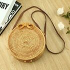Orchid | Round Circle Rattan Wicker Straw Woven Crossbody Holiday Beach Bag UY