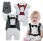 Baby Boy Wedding Christening White Tuxedo Suit Outfit Clothes One Piece Dress