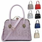 Ladies Floral Lace Handbag Diamante Clasp Glitter Shoulder Grab Bag MA34907