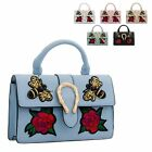 Ladies Fx Leather Satchel Sequin Flower Top Handle Handbag Shoulder Bag KT2180