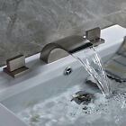 Brushed Nickel Bathroom Basin Faucet Widespread 3 Holes Deck Mount Mixer Tap