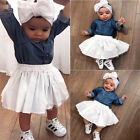 Kids Baby Girls Clothing Outfits Set Denim Jeans Tops +  Skirts Set+Headband Set