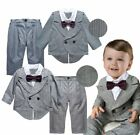 Baby Boy Wedding Christening Tuxedo Suits Outfit+Pants Formal Wear Dress Set