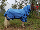LOVE MY HORSE 600D 3'6 - 4'9 Mini Pony Rainsheet Combo Waterproof Horse Rug Blue