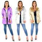 LADIES WOMENS METALLIC RAIN MAC WATERPROOF RAIN COAT HOODED FESTIVAL JACKET TOP
