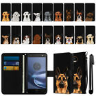For Motorola Moto Z Force Droid Edition Dog Slim Wallet Pouch Case Cover + Pen