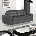 PINTO Modern Grey Leather Sofa 3 + 2 Seaters + Armchairs + 1 Year Guarantee