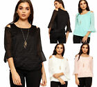 Womens Lace Lined Necklace Top Ladies Cut Out Cold Shoulder Long Sleeve New 8-14