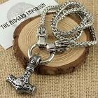 Viking Thor's Hammer Mjolnir Pendant With Wolf Chain Necklace Stainless Steel