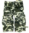 SHORTS ARMY INFANTRY 6 CARGO VINTAGE CAMOUFLAGE 100% Cotton SIZES 30 to 44