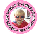 40mm A4 sheet of 24 Personalised Birthday Hen Stickers Labels add a photo / pic