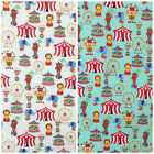 Magical Circus 100% cotton fabric per 1/2 Metre or fat quarter ivory or Mint
