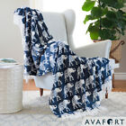 "Velvet Plush Print Blanket Throw Elephant Free Shipping 3 colors 50"" x 60"" image"