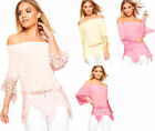 Womens Gypsy Boho Off Shoulder Bardot Crochet Floral Lace Top New Ladies Blouse