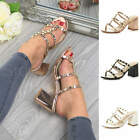 Womens Ladies High Block Heel Caged Studded Slip On Strappy Sandals Mules Size