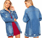 Womens Baggy Oversized Ripped Distressed Denim Jacket Ladies Coat Frayed Torn