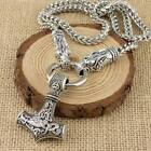 Viking Norse Thor's Hammer Silver Pendant With Odin's Wolves Chain Necklace