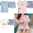 pictures of shorts for ladies - Women Girls Ladies Short Sleeve Shorts and Tops Pajamas Casual Cartoon Nightwear