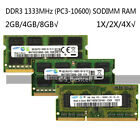 Samsung 2GB/4GB/8GB PC3-10600S DDR3 1333MHz 204pin Laptop sodimm Memory Ram LOT