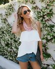 Womens Summer Beach Ruffle Tube Tops Ladies Blouse Tops Bikini Cover Up T-shirt