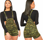 Womens Camouflage Print Denim Playsuit Ladies Shorts Strappy Sleeveless Pocket