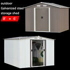 8'x6' Outdoor Garden Storage Shed Tool House Sliding Door Steel Foundation Lawn