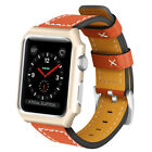 Genuine Leather Watch Band strap with Metal Case for Apple Watch Seriers 1/2/3