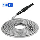 25/50/75/100ft Flexible 304 Stainless Steel Metal Garden Water Hose Pipe+ Nozzle