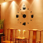 US Coffee DIY Large Wall Clock Home Office Room Decor 3D Mirror Surface Sticker
