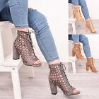 Ladies Womens High Heel Block Lace Up Party Sandal Ankle Strap Shoes Sizes 3-8