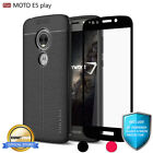 COVRWARE� Moto E5 PLAY, TPU Leather Case with Tempered Glass Screen Protector