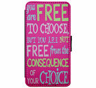 Free to Choose Quote Leather  Phone Case Wallet Cover for iPhone & Samsung D9