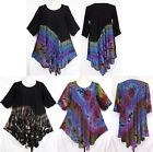 Tie Dye RAYON 3/4 Sleeve Flare Tunic LONG TOP Dress Shirt Size L Large Gypsy