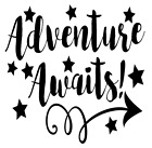 Adventure Awaits Arrow Stars Vinyl Decal Sticker Quote Sayin