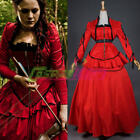Red Gothic Vintage Medieval Renaissance Civil War Dress Halloween cosplaycostume