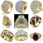 Vintage 18K Yellow Gold Filled White Sapphire Ring Women Men's Wedding Jewelry image