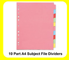 A4 Subject File Filing Dividers 10 Part Coloured Multi Punched - 295179
