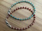 HDMD by Cyndi Ankle Bracelet of Round Luster Glass & Gold Seed Beads Aqua or Red