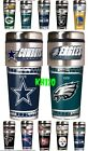 NFL Team 16oz Steel Travel Tumbler Coffee Mug w/Metallic Graphics emblem image
