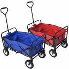 XL Foldable Garden Trolley Cart Wagon Truck 4 WHeel Pull Along Wheelbarrow R/B