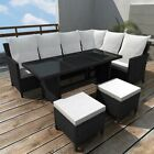 Corner Garden Sofa Set 19pcs Poly Rattan Outdoor Furniture Dining Table 2 Colors