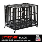 """37""""/42""""/48"""" Dog Crate Kennel Cage Large Heavy Duty Square Tube W/Wheels & Tray"""