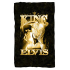Elvis Presley in Gold THE KING Prayer Pose Lightweight Fleece Throw Blanket