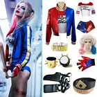 Women Suicide Squad Harley Quinn Coat Shorts Top Set COS Costume Party Best Gift
